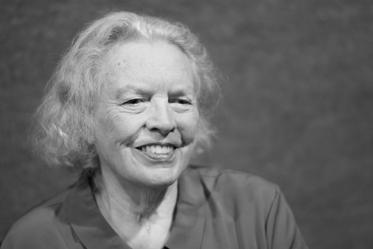 Black and white photo of 80 year old woman